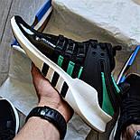 Мужские кроссовки Adidas EQT Support ADV черные с зеленым летние в сетку. Живое фото (Реплика ААА+), фото 2