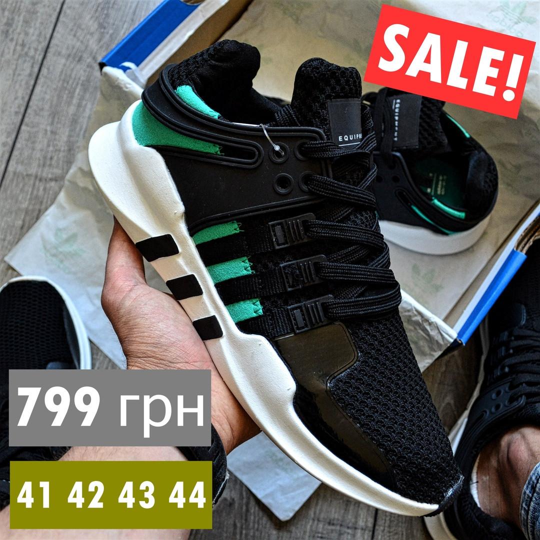 Мужские кроссовки Adidas EQT Support ADV черные с зеленым летние в сетку. Живое фото (Реплика ААА+)
