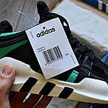 Мужские кроссовки Adidas EQT Support ADV черные с зеленым летние в сетку. Живое фото (Реплика ААА+), фото 5