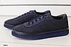 Туфли мужские синие из натурального нубука с перфорацией