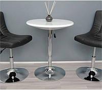 Стол барный Амира белый пластик ABS диаметром 60 см, высота регулируется в диапазоне 70-90 см