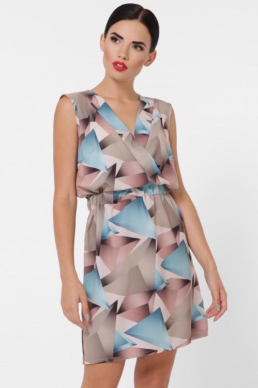 Летнее женское платье Milena абстракция бирюзовый (42-48)