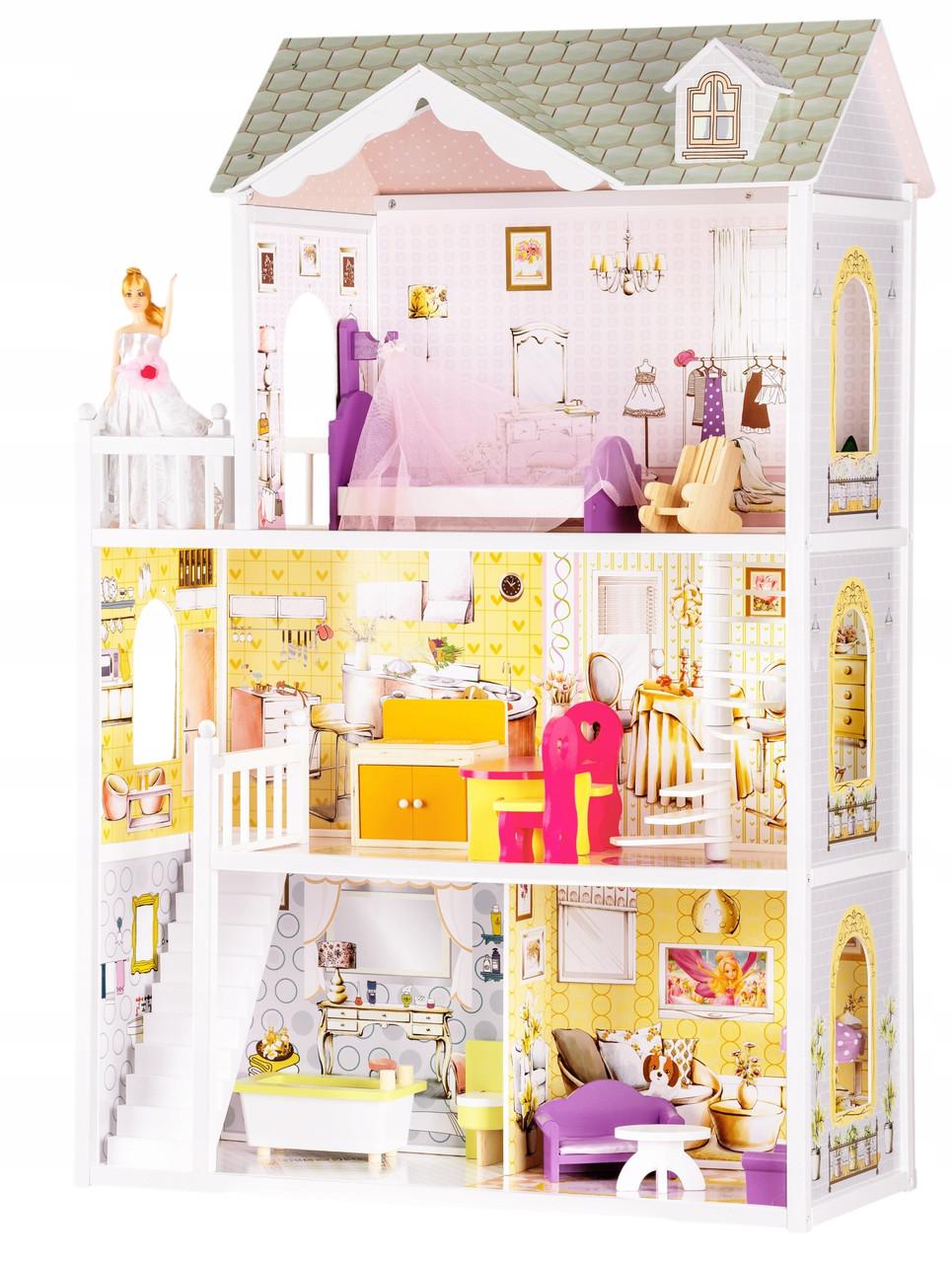 Мега великий ігровий ляльковий будиночок для барбі Ecotoys 4108 Beverly 124см!