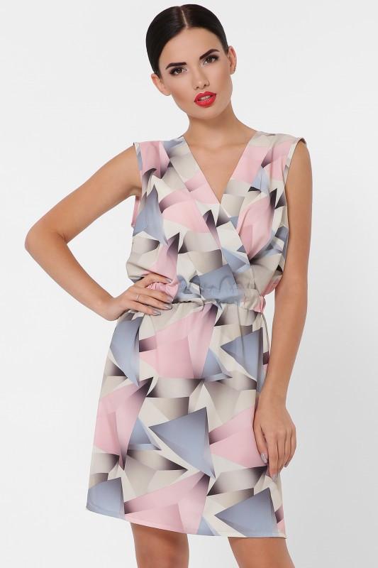 Стильное женское платье Milena абстракция розовый (42-48)