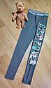 Серые спортивные хлопковые лосины с ярким принтом NYC VIBES H&M (Англия) (Размер 11-12Т), фото 2