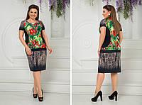 Женское нарядное платье-футляр,ткань трикотаж масло,размеры:48,50,52,54.