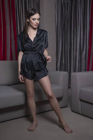 Черный шелковый пижамный комплект, фото 2