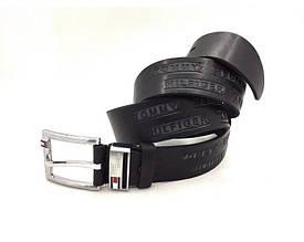Мужской кожаный брючной ремень в стиле Tommy Hilfiger (041) черный