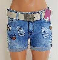 Шорты женские джинсовые короткие с ремнём  р 25-30 (код9877-00), фото 1