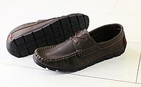 Мокасины мужские коричневые кожаные , фото 1