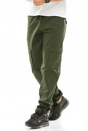 Мужские джоггеры с боковыми карманами 708 зеленые, фото 2
