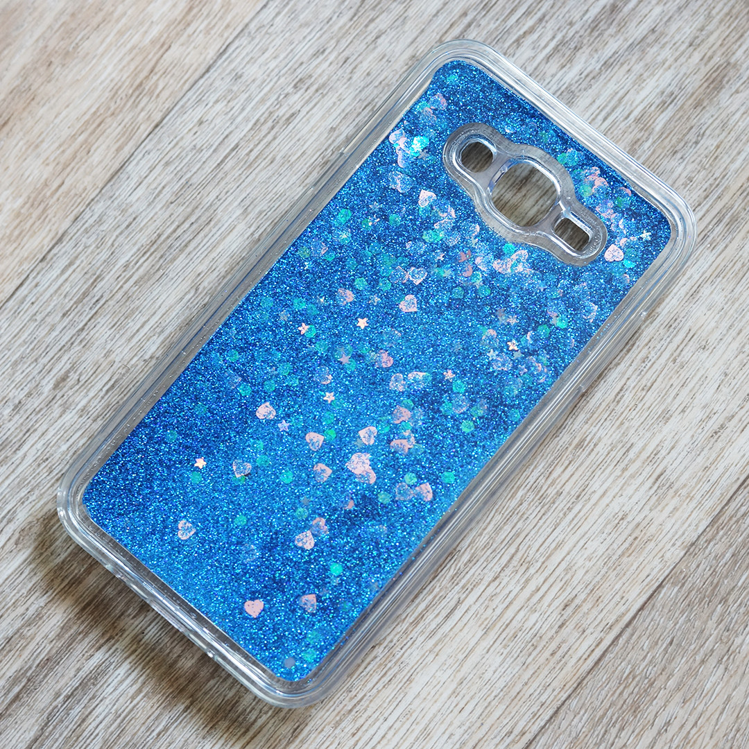 Чехол аквариум с блестками для Samsung Galaxy J7 Neo (j701) (синие блестки)