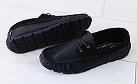 Мокасины мужские черные кожаные , фото 1