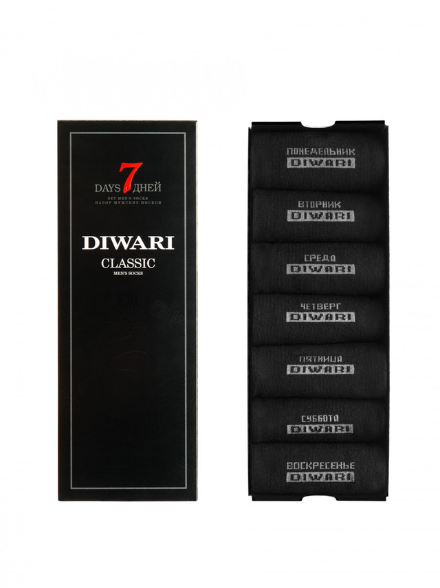 CLASSIC DIWARI Носки мужские 7 дней - 7 пар черный 5С-08СП