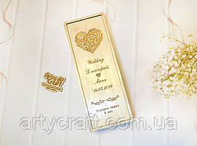 Коробка для вина Капсула времени Сердце с именами 35х13х13 см (прозрачный лак)