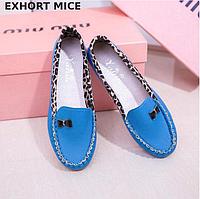 Туфли женские мокасины голубые