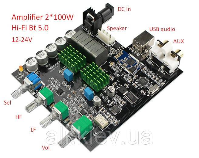 NEW! Hi-Fi Підсилювач D клас TPA3116D2 2*120 Вт з Bluetooth 5.0 стерео модуль USB audio AUX Селектор входів