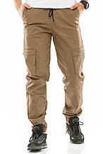 Мужские джоггеры с боковыми карманами 708 бежевые
