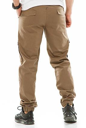 Мужские джоггеры с боковыми карманами 708 бежевые, фото 2