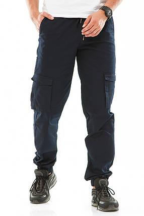 Мужские джоггеры с боковыми карманами 708 синие, фото 2