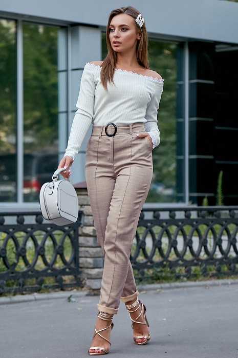Молодежные женские брюки 3600 кофе (M-2XL)