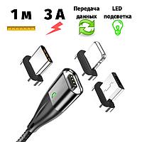 Магнитный USB кабель Topk 1 метр передача данных черный