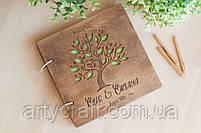 Альбом для фото или пожеланий гостей в деревянной обложке 20х20 см (красное дерево), фото 5
