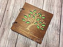 Альбом для фото или пожеланий гостей в деревянной обложке 20х20 см (красное дерево), фото 4