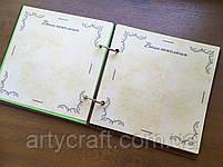 Альбом для фото или пожеланий гостей в деревянной обложке 20х20 см (красное дерево), фото 8