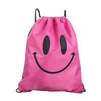 Рюкзак мешок Smile на шнурке для пляжа, спорт зала, путешествий розовый, фото 1