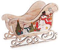 """Декоративные деревянные сани """"Новогодняя история"""" 63 см, яркий новогодний декор"""