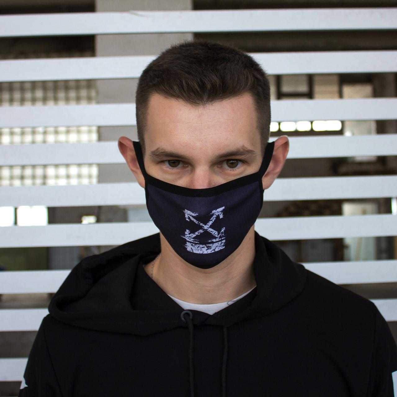 Маска для обличчя чорна з принтом Off-White