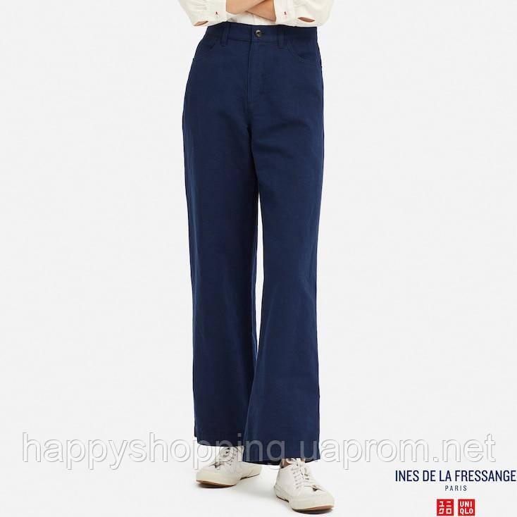 Женские стильные синие широкие льняные брюки Uniqlo