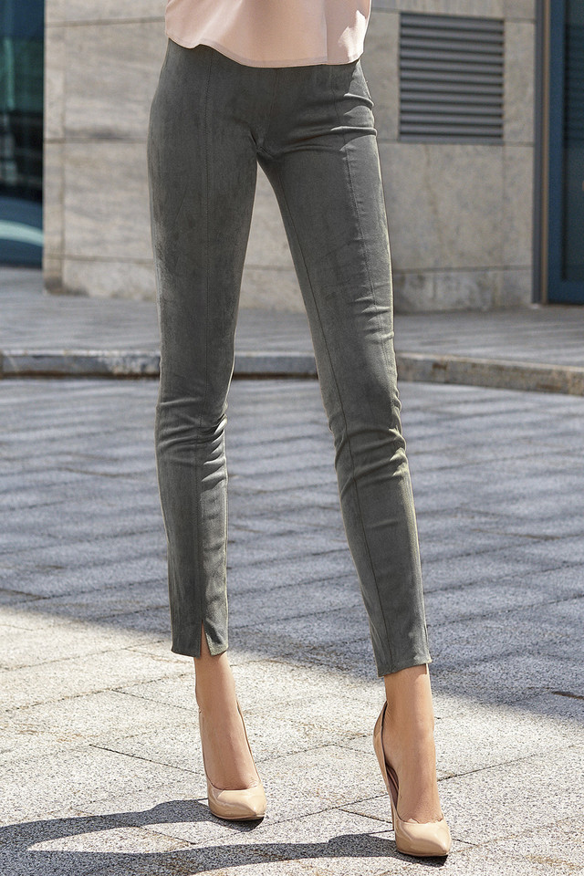 Женские серые брюки, искусственная замша, молодёжные, повседневные, элегантные