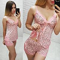 Женский комплект для сна Турция ткань микро масло сублимация сердечка цвет розовый, фото 1