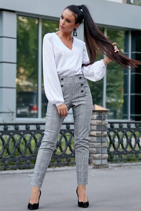 Стильные женские брюки 3588 серая клетка (S-XL)