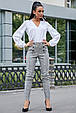 Стильные женские брюки 3588 серая клетка (S-XL), фото 4
