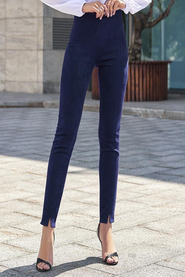 Жіночі сині штани, штучна замша, молодіжні, повсякденні, елегантні