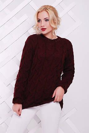 Женский вязаный свитер с узором в виде косичек 42-50 р., фото 2