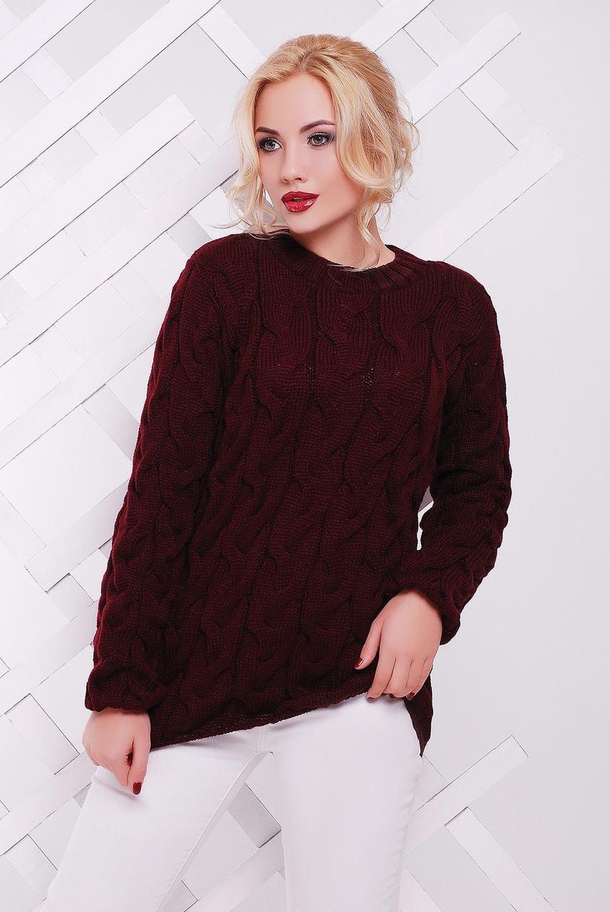 Женский вязаный свитер с узором в виде косичек 42-50 р.