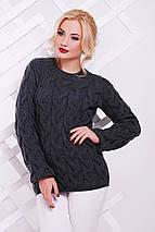 Женский вязаный свитер с узором в виде косичек 42-50 р., фото 3