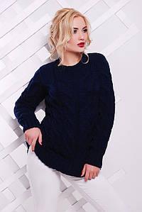 Женский удлиненный свитер с узором в виде косичек 42-50 р.