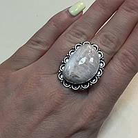Сколецит кольцо из натурального редкого сколецита в серебре 18 размер Индия, фото 1