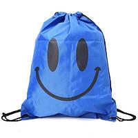 Рюкзак мешок Smile на шнурке для пляжа, спорт зала, путешествий синий, фото 1