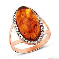 Золотое кольцо с янтарем Благородство