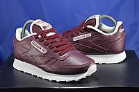 Бордовые кожаные кроссовки Reebok унисекс размеры:36-40