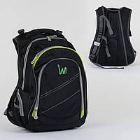 Школьный черный рюкзак (2 отделения, 5 карманов, спинка ортопедическая)