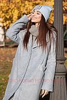 Женское теплое пальто из экомеха фасона оверсайз r7102158