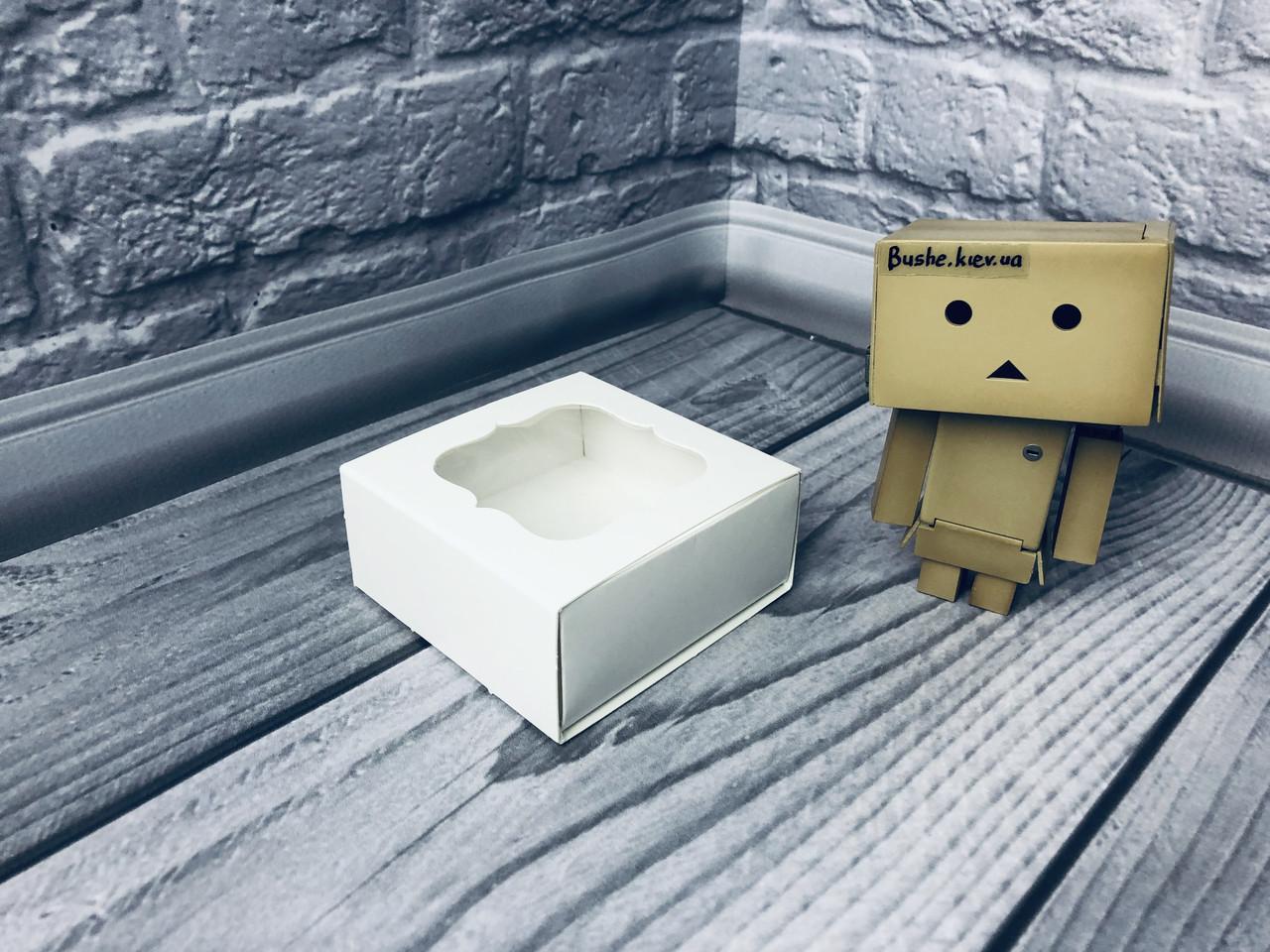 *50 шт* / Коробка для пряников / 80х80х35 мм / Белая / окно-обычн