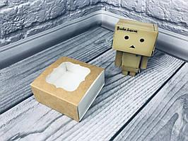 Коробка для пряников / 80х80х35 мм / Крафт / окно-обычн
